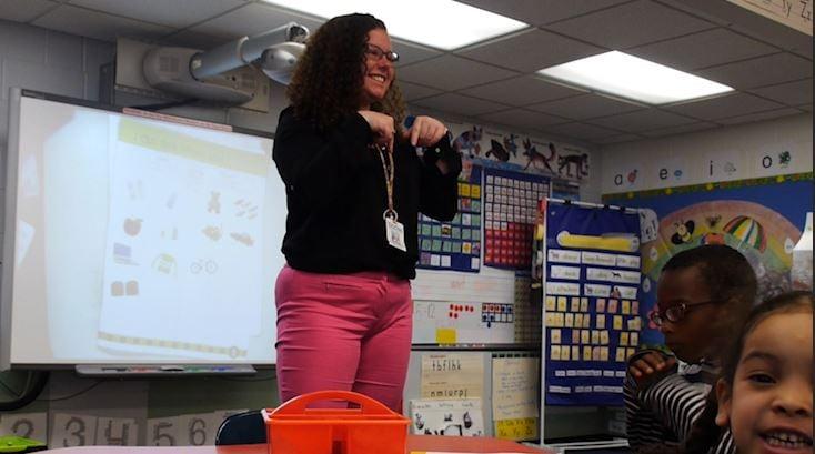 Chenango Forks Senior Ava Hudak teaches Kindergarten class at Horace Mann Elementary School