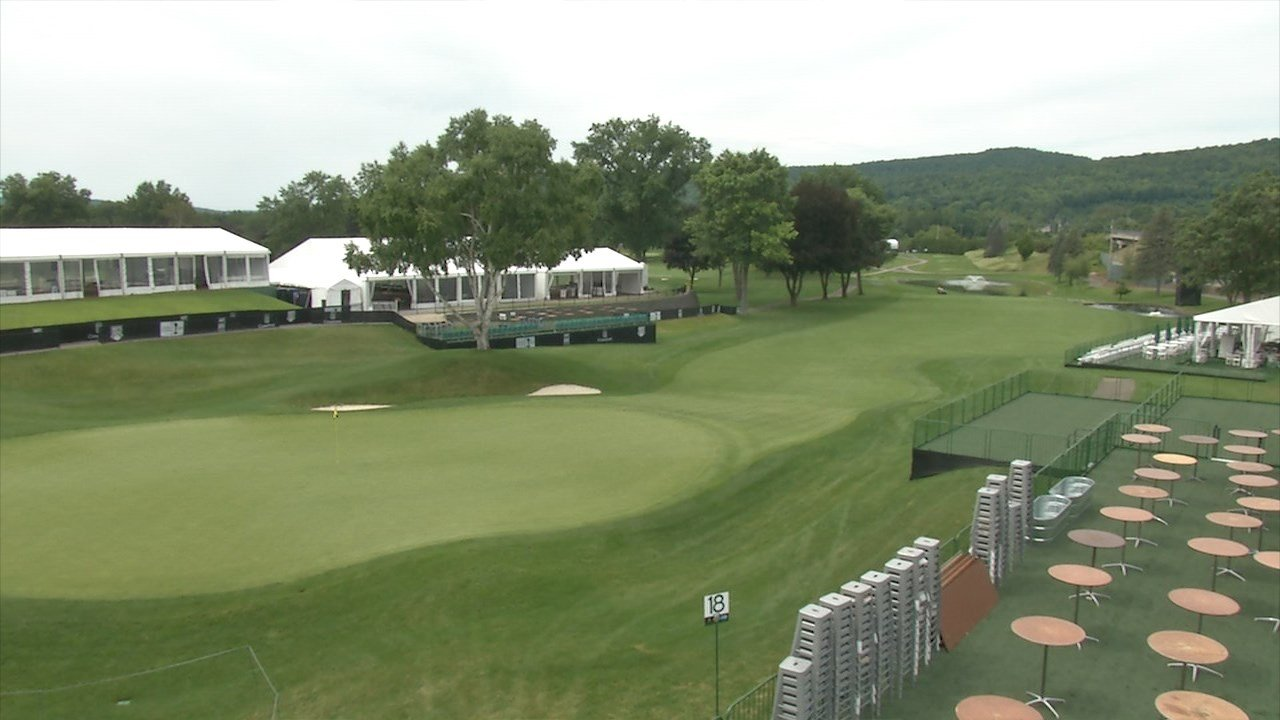 A camera tower view of En-Joie's 18th hole.