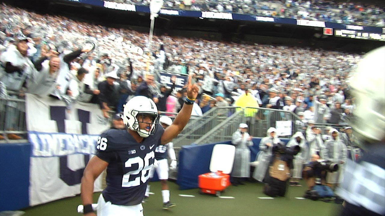 Barkley rushes for 174 yards in Nittany Lions win.
