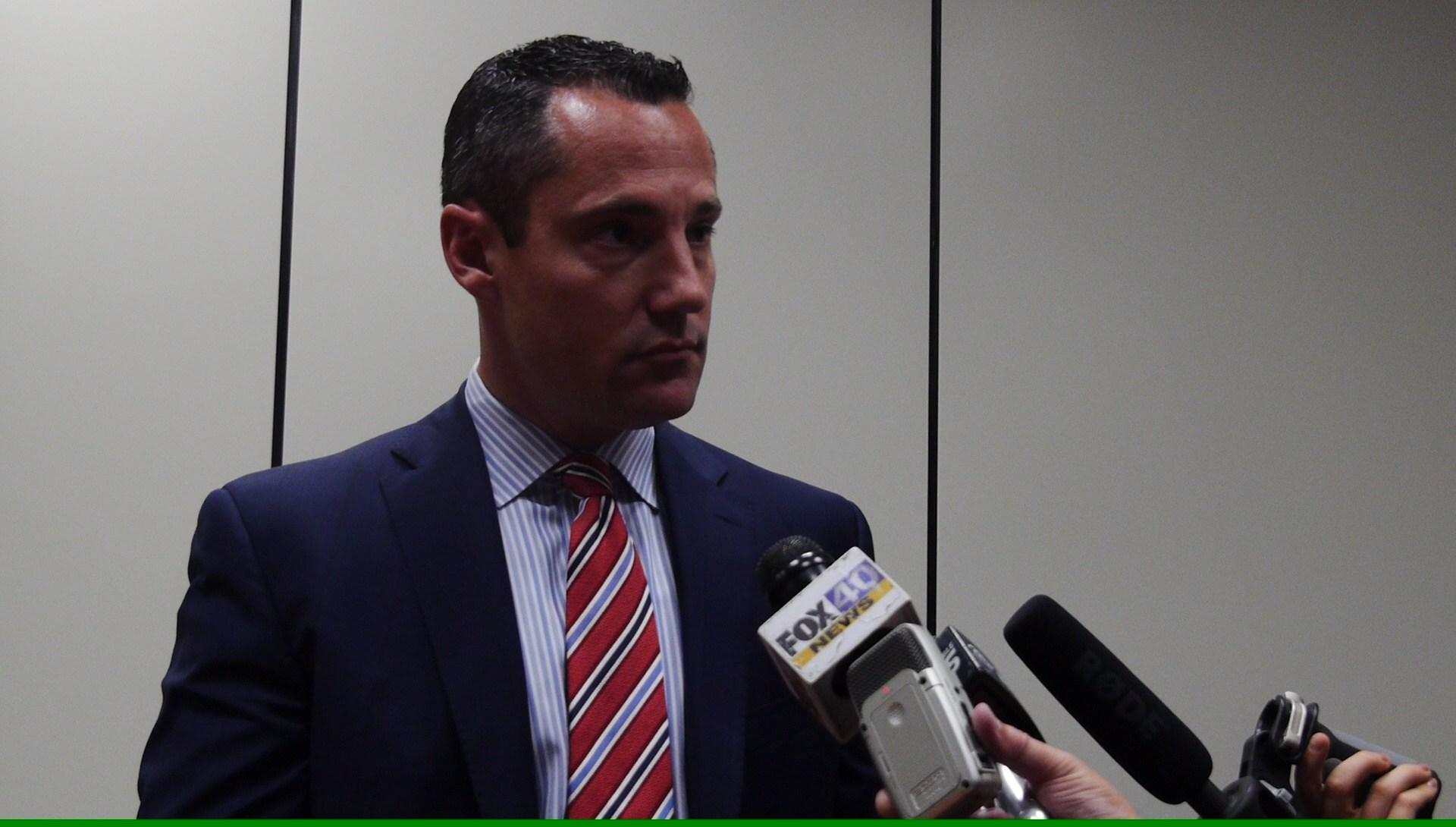 Preston's lawyer Paul Battisti talks to reporters on Oct. 10