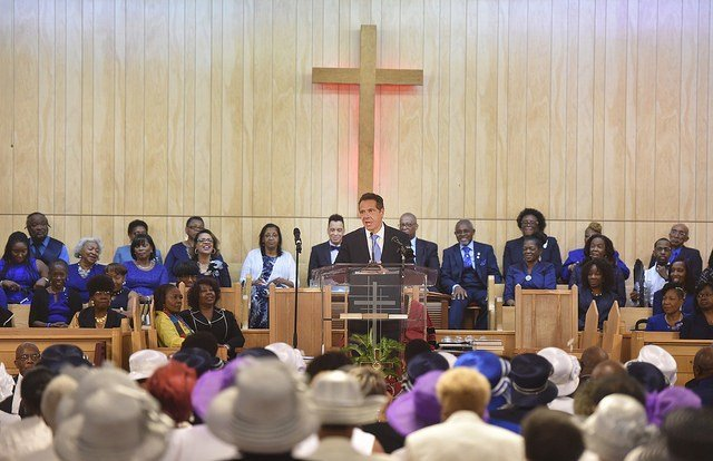 August 19, 2018--Brooklyn--Governor Andrew M. Cuomo delivers remarks at the First Baptist Church of Crown Heights, Brooklyn.