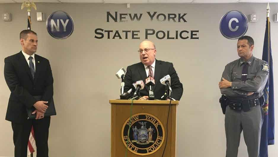 NYSP Captain Scott Heggelke announces the arrests of two York, Pennsylvania men in the May 9, 2019 Apalachin shooting death.