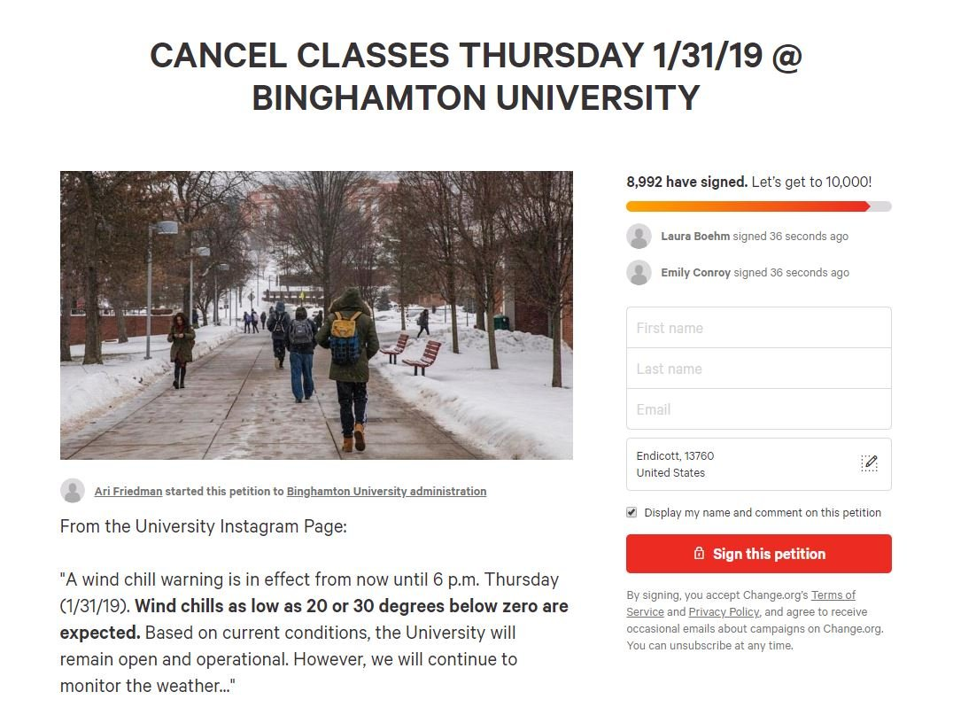 Bu Students Signing Pe Ion To Cancel Clthursday Ahead Of T Fox 40 Wicz Tv News Sports Weather Contests More